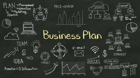 lousa : Handwriting concept of Business Plan at chalkboard. with various diagram.