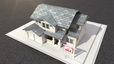 жилье : Architectural drawing changed three-dimensional house.and sale sign. Стоковые видеозаписи