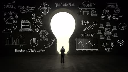 benekli : businessman Standing in front of black, shape of bulb light, Business plan and various graph in black wall concept.