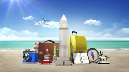 tourism : Planing to travel city, summer vacation. symbol of travel, tour, vacation (included alpha) Stock Footage