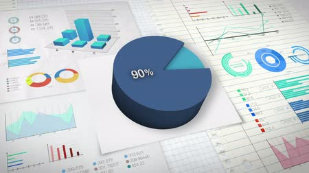 сбор : 90 percent Pie chart with various economic finances graph.