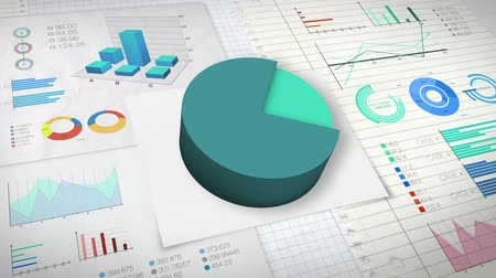 elements : 80 percent Pie chart with various economic finances graph version 2. (no text) Stock Footage