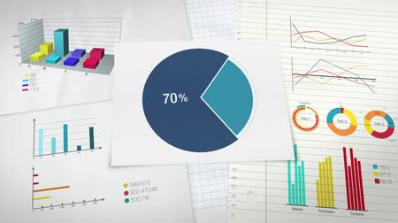gidermek : Circle diagram for presentation, Pie chart indicated 70 percent, and various graphic diagram. Stok Video