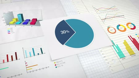 gidermek : Circle diagram for presentation, Pie chart indicated 30 percent, and various graphic diagram. version 2 Stok Video