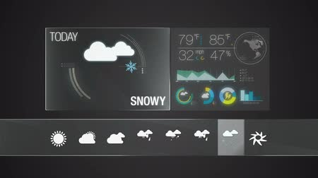 pogoda : Snowy, Weather icon set animation (included alpha) Wideo