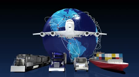 rota : Growing Global Network with airplane, train, ship, car transportation, world map, earth.1