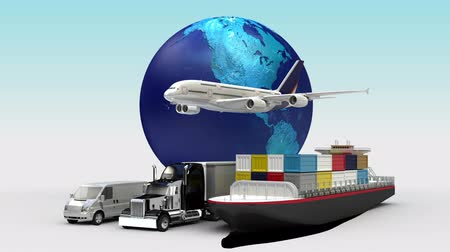 lojistik : Growing Global Network with airplane, train, ship, car transportation, world map, earth.2