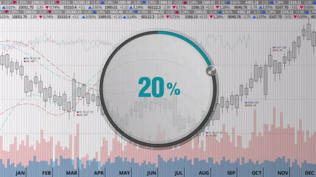Indicate about 20 percents circle dial on various animated stock market charts and graphs Dostupné videozáznamy