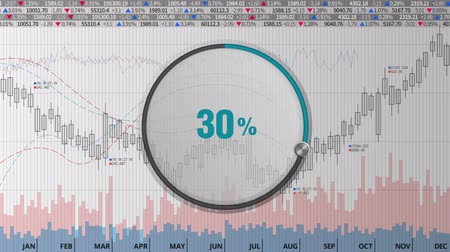 Indicate about 30 percents circle dial on various animated stock market charts and graphs