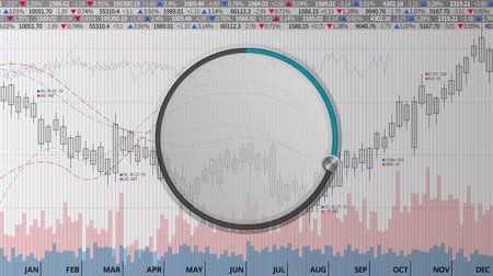 Indicate about 30 percents circle dial on various animated stock market charts and graphs (no text version)
