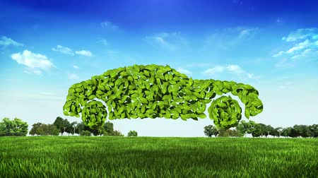 Eco green car made from leaves on green field. (Included alpha)