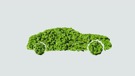 Eco green car made from leaves. (Included alpha)
