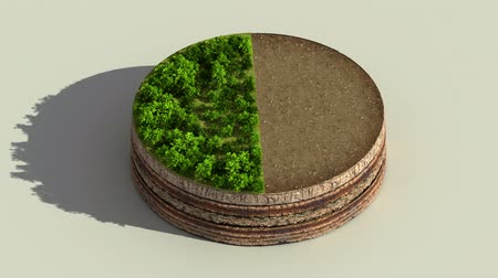 Indicate about 50 percents circle diagram, chart. Eco Infographic elements with trees, leaves, earth and grass. Dostupné videozáznamy