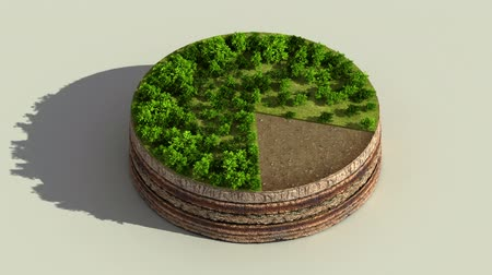 Indicate about 80 percents circle diagram, chart. Eco Infographic elements with trees, leaves, earth and grass.