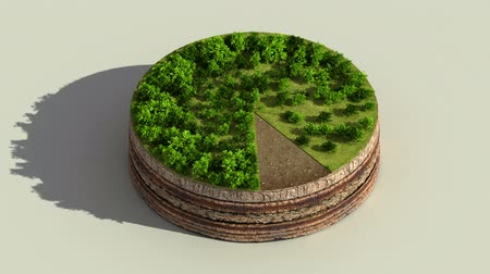Indicate about 90 percents circle diagram, chart. Eco Infographic elements with trees, leaves, earth and grass.