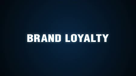 Brands, Usage, Users, Markets, Commitment, Text animation BRAND LOYALTY