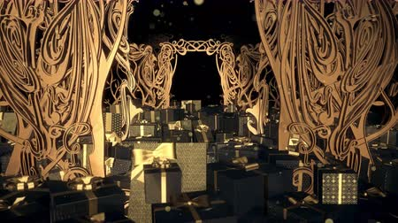 Christmas Art Nouveau Gift Box 02 is motion footage for celebration films and cinematic in christmas scene. Also good background for scene and titles, logos. Stok Video