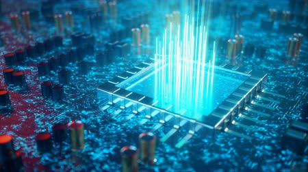 AI artificial intelligence concept CPU. Machine learning. Central Computer Processors on the circuit board with luminous tracks. Encoded data. Computer chip over circuit background, 3D animation