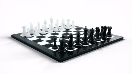 епископ : Chess board with pawns, kings, queens, rooks and knights. Chess board isolated on white background. Chessboard rotates. Looped animation. 3d animation Стоковые видеозаписи