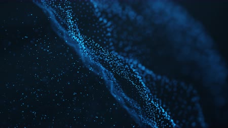 Abstract motion background of shining particles. Digital signature with wave particles, sparkle. Beautiful blue floating particles with shine light rise up. Seamless Loopable 3D. 4K animation Wideo