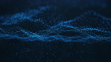 Abstract motion background of shining particles, digital wave, sparkling blue particles. Beautiful blue floating particles with shine light fall down. Seamless Loopable 3D. 4K