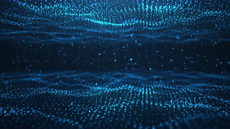 Abstract motion background of shining particles, two digital wave with sparkling blue particles. Beautiful blue floating particles with shine light. Seamless Loopable 3D. 4K Wideo
