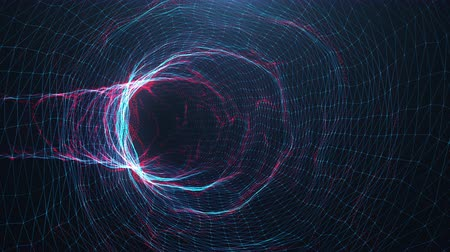 Abstract motion digital wormhole, tunnel consisting blue and red sparkling particle and lines. Way through the digital network beautiful blue and red particles. Seamless Loopable 3D 4K animation