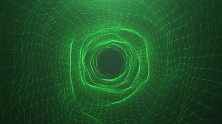 Abstract motion digital wormhole, tunnel consisting green sparkling particle and lines. Way through the digital network beautiful green particles. Seamless Loopable 3D 4K animation
