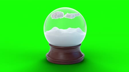 Snow globe with clouds and snow on green screen background with alpha channel. Cloud and snow inside magic globe. Winter holidays concept: xmas New Year. Loop 4k 3d animation Wideo