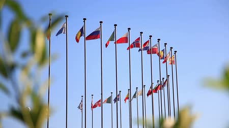 partnerstwo : International flags on a background of blue sky.