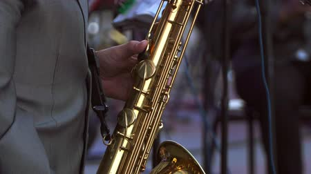clarinet : brass band tube closeup without faces Stock Footage