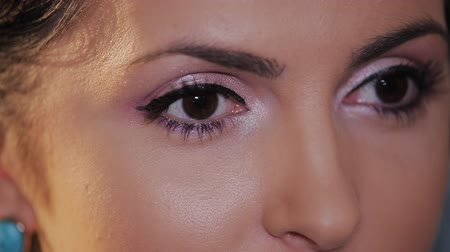 cílios : elegant woman engaged in a dialogue. Close-up shot of female eyes makeup Vídeos