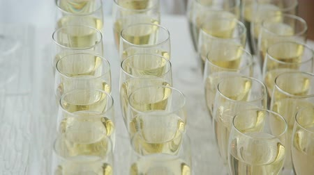 setting : champagne glasses on a buffet table