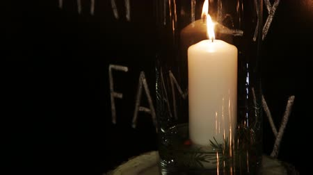 família : white candle lit at night in a vase