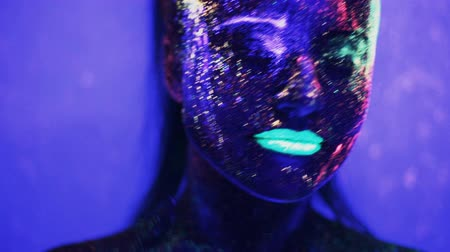 fantasy fantastic : girl dancing in the ultraviolet light Stock Footage