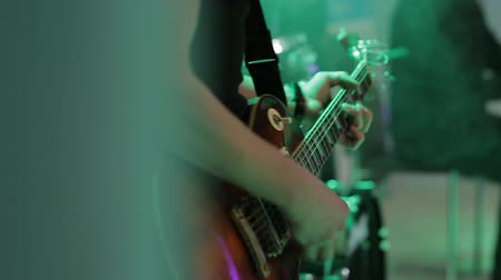 musicians stage : musician hand playing electric guitar