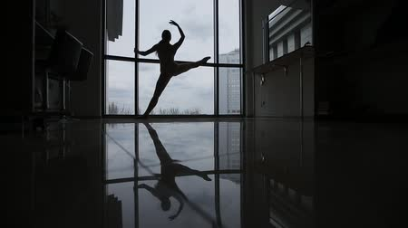 bale : A young ballerina in the studio warmes up. Reflection of a ballerina in the mirror floor in the studio, silhouette.