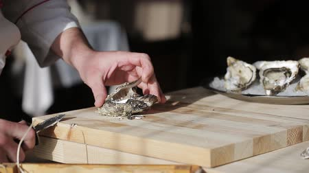 bivalve : The chef at the restaurant opens oysters Stock Footage