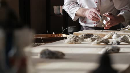 bivalve : Chef in a luxury fish restaurant opens oysters on the table and puts them on a plate with ice Stock Footage