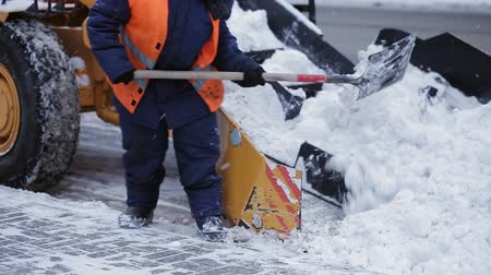 snow plow : Removing snow with plow. Close up of iron snowplow pushing a lot of snow away.
