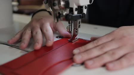 step : leather sewing with a sewing machine. Sewing machine