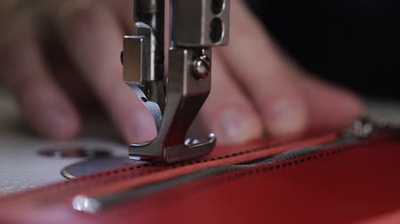 step : Sewing machine. Sewing of leather goods. Close-up