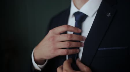 nişanlısı : Handsome businessman preparing to official event, straighten tie. Stok Video