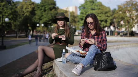 consumir : Two girls hipster in the Park eating sandwiches and talking Stock Footage