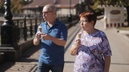 consumir : Senior couple having ice cream at promenade on a sunny day Stock Footage