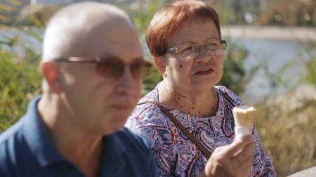 consumir : Elderly couple sitting on the promenade eating ice cream and talking. Elderly loving couple talking, and eating some ice cream cones. Stock Footage