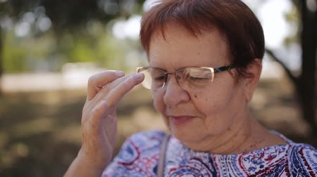 alfabetização : Elderly woman with glasses in the Park on a bench reading an electronic book
