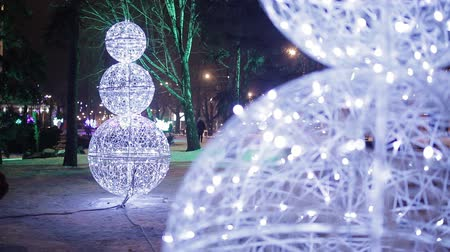 moskova : Christmas, New year time in city streets, decorated and illuminated. Stok Video