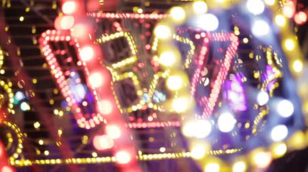 defocus : Colorful Christmas Illumination. Christmas garlands Stock Footage