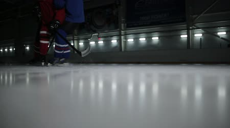 hockey rink : Two hockey players at the rink for the puck. A confrontation at a hockey field between the opponents.